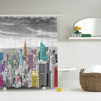 Rainbow Sunset Cityscape Shower Curtain