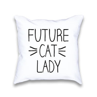 Future Cat Lady Whiskers Throw Pillow