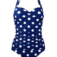 Vintage Vibe Retro One Piece Blue Polka Dot Swimsuit