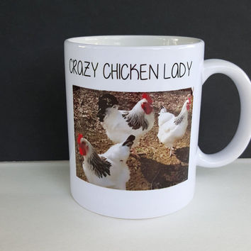 Crazy Chicken Lady Coffee Mug, Chickens, Gift Ideas,Coffee Lovers, Funny Coffee Mug