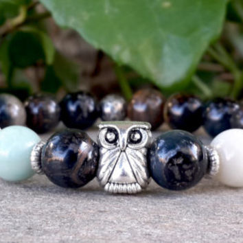 Beaded Men Agate Bracelet, Unique Amazonite Rustic Gemstone Bracelet, Man Bracelet, Silver Owl Bracelet, Yoga Jewelry, FREE SHIPPING