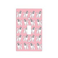 White Poodles Pattern Pink Light Switch Cover