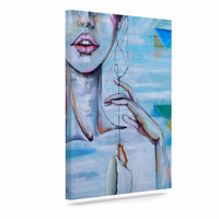 "Kira Crees ""Alice"" Blue Multicolor People Painting Canvas Art"