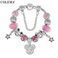 High Quality Animal Mickey Mouse Charm Bracelet & Bangle For Women Fashion Original DIY Pink Minnie Beads Bracelet Pulseira Gift