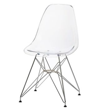 Eames Style Side Chair, Clear with Metal Base