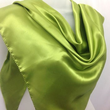 Summer hip scarf Green Silky Satin Shawl, Office Neckerchief scarf, Gift for mother Half scarf, Summer Birthday party Gift for her