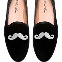 Prince Albert Black Velvet Slipper Loafers With Mustache Embroidery by Del Toro - Moda Operandi