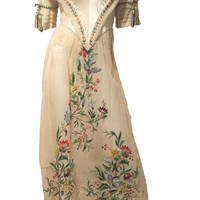 Mid 19th Century Civil War Era Dress with Embroidery MUSEUM QAULITY