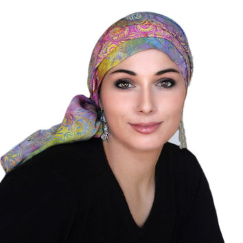 Carnival Floral Turban, Head Wrap, Alopecia Scarf, Chemo Hat, Hat & Scarf Set