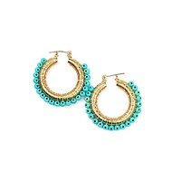 Wired Turquoise Hoops - Gold Plated
