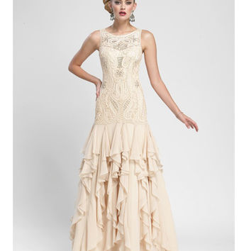 Sue Wong Champagne Embroidered Ruffle Gown - Unique Vintage - Prom dresses, retro dresses, retro swimsuits.