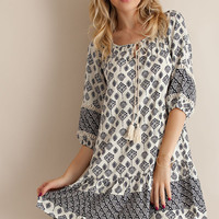 Border Print Peasant Dress - Navy