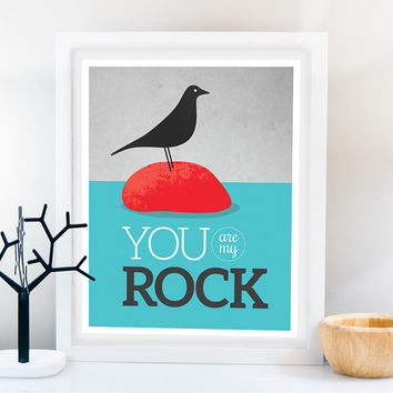 Bird Retro print/ Eames Bird/ Art print/ Typography poster, inspirational wall decor, motivational art, Mid Century modern, Eames house bird