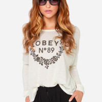 Obey 89 Wreath Cream Long Sleeve Top