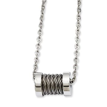 Stainless Steel Wire Barrel Necklace 24 Inch
