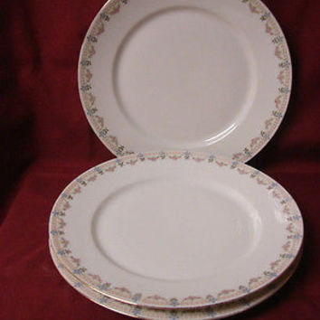 Vintage China Dinnerware W M Guerin Limoges France Pink Rose swag Set 3 dinner