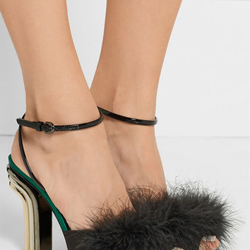 Marco De Vincenzo - Feather-embellished satin and patent-leather sandals