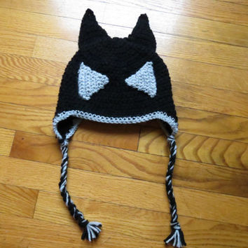 Crochet Batman Hat with Earflaps and Ties, Black and Gray Eyes, Multiple Sizes Available, CUSTOM ORDER ONLY