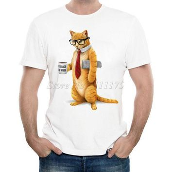 New Arrivals 2017 Men's Funny Business Cat Printed T Shirt Cool Summer Tops High Quality Casual Tee