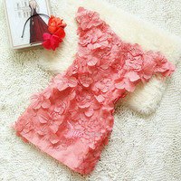Sweetheart 3D flower mini dress/short dress from Your Closets