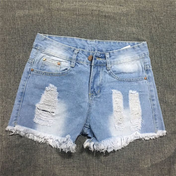 All-match Fashion Sexy Casual Large Size Female Irregular Worn Retro Shorts Jeans Hot Pants