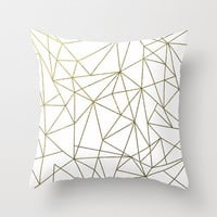 Geometric Pillow, Pillow Cover, Metalic Gold Pillow, Gold Geometric Pillow