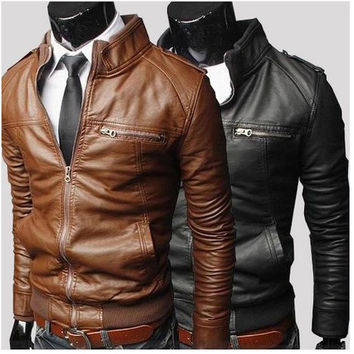 Motorcycle Brown Leather Jacket - Jacket