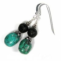 Turquoise Nuggets And Black Lava Gemstone Sterling Silver Earrings