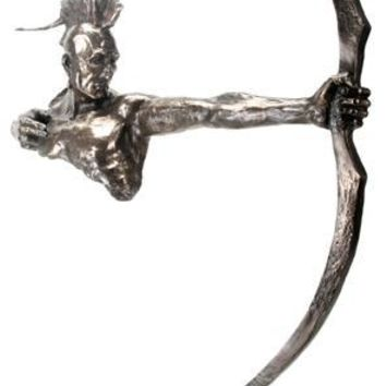 Indian Drawing Bow Abstract Large Statue Bronze Finish 32H