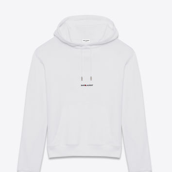 SAINT LAURENT WHITE SAINT LAURENT SIGNATURE HOODIE | YSL.COM
