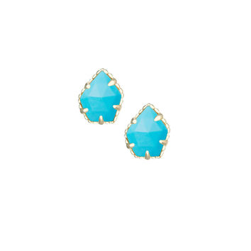 Kendra Scott Tessa Stud Earrings in Turquoise Magnesite 14K Gold Plated