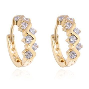 18K Gold Galvanized White Zircon Earrings