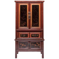 Early 20th Century Chinese Red Gilt Lacquered Cabinet
