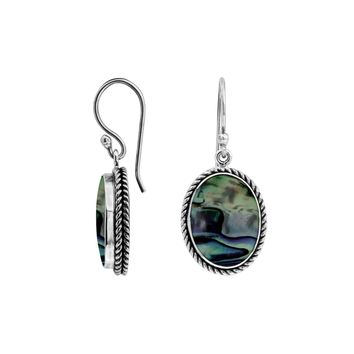 AE-6212-AB Sterling Silver Oval Shape Earring With Abalone Shell