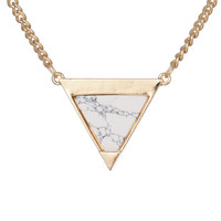Marble Triangle Gold Pendant Necklace
