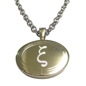 Gold Toned Etched Oval Greek Letter Xi Pendant Necklace