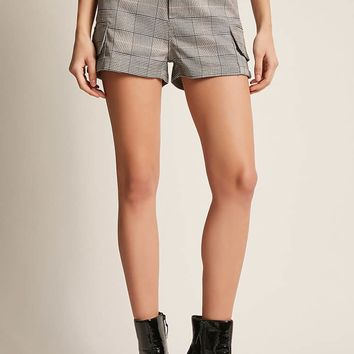 High-Waist Glen Plaid Shorts