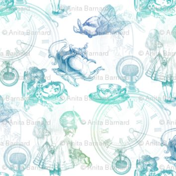 Alice in Wonderland Tea Party Blue Green fabric - 13moons_design - Spoonflower