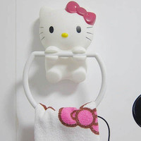 Cartoon Hello Kitty Design Suction-cup Towel Ring