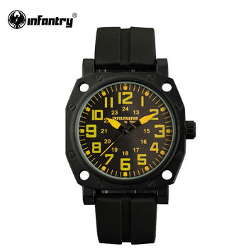 Mens Quartz Watches Sport Wristwatch Rubber Strap Yellow Military Army Marine Corps Watch