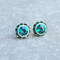 Teal Peacock Emerald Earrings Swarovski Crystal Teal Blue Emerald Green Rhinestone Earrings Sugar Sparklers Small Stud Earrings Mashugana