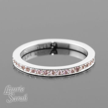 14kt White Gold Wedding Band, Genuine Light Pink Sapphire Ring, Half Eternity Band - LS3328