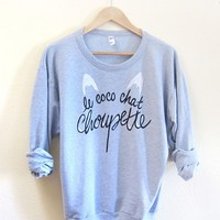 Supermarket: Le Coco Chat Choupette - Drop Shoulder Hand Stenciled Crew Neck Chanel Muse Womens Sweater in Light Grey Heather from Alyssa Zukas