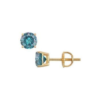 DCCKU7Q 14K Yellow Gold : Blue Diamond Stud Earrings 1.00 CT TDW
