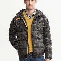 Banana Republic Mens Camo Hooded Puffer Jacket