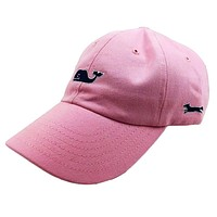 Whale Logo Baseball Hat in Flamingo Pink w/ Navy Longshanks by Vineyard Vines
