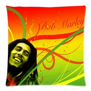 New Arrival Custom The Reggae Singer Bob Marley Zippered 18x18 (One Side) Square Cushion Cover with Comfortable Flannel P1027