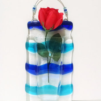 Fused Glass Wall Vase - Blue Waves - Beach Decor - Nautical Decor - Housewarming Gift - Reed Diffuser - Flower Bud Vase - Mothers Day Gift