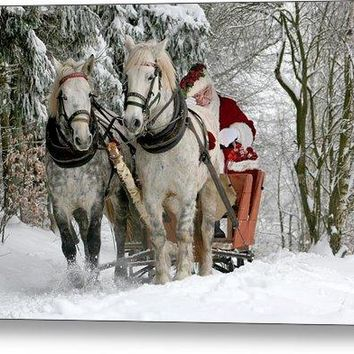 Santa Sleigh With Horses - Metal Print