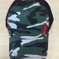 Red Monkey Camo Storm Trucker Hat